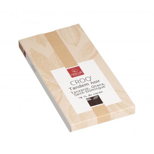 """Tablette Chocolat Noir 70% De Cacao, """"Tandem"""" 100g"""