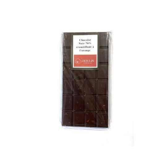 Tablette Noir 70% croustillant à l'orange, 100g